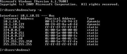 3.Kiểm tra bảng ARP để tham khảo chéo địa chỉ MAC và IP